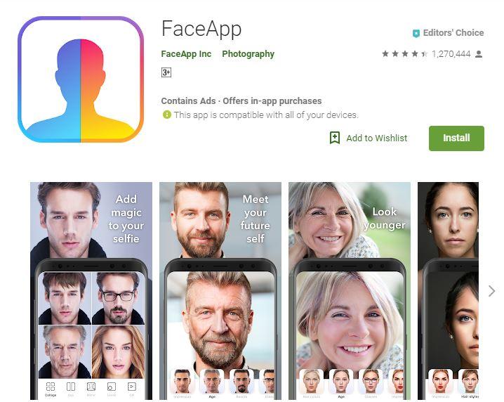 screenshot of FaceApp app from google play