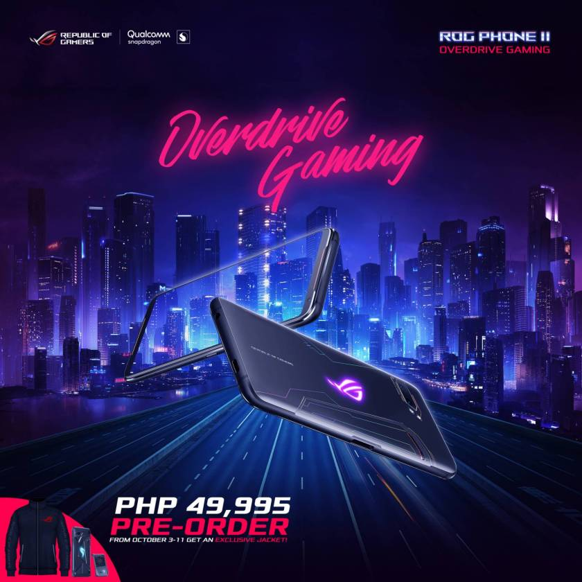 Image of the ROG PHONE II Overdrive Gaming which is available for pre-oder for the price of 49,995 pesos.