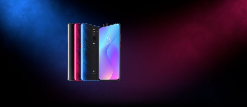an image of four Xiaomi Mi 9T phone with different colors.