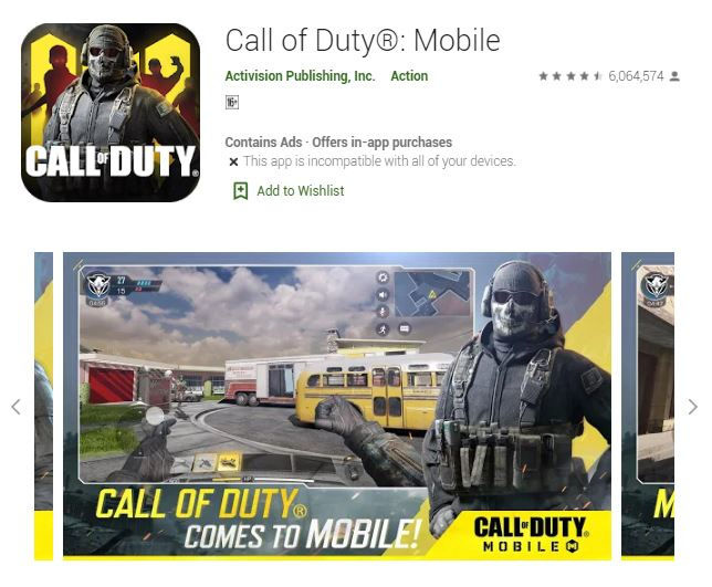 Screenshot photo of the Google Play's Best of 2019 Users' Choice 2019 Game: Call of Duty: Mobile