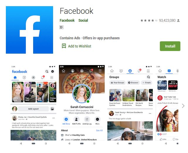 A screenshot photo of the mobile app Facebook, one of the 50 Top Free Apps In Google Play
