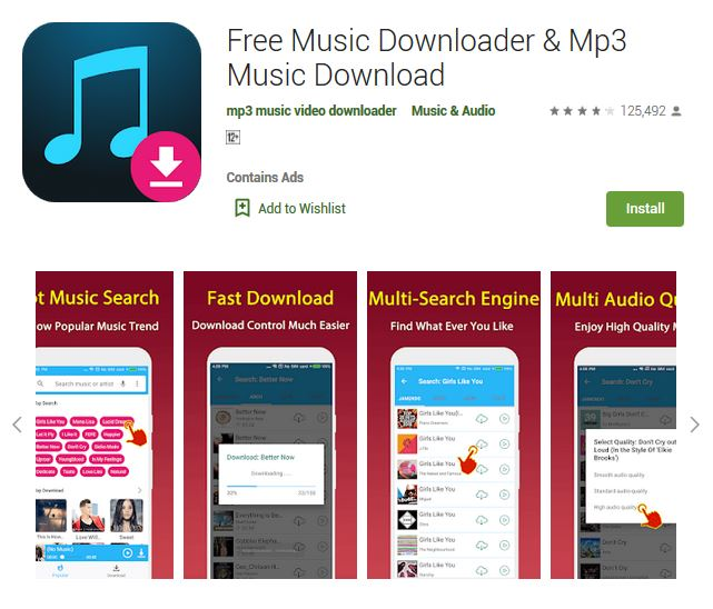 A screenshot photo of the mobile app Free Music Downloader & Mp3 Music Downloader