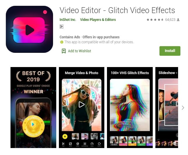 Screenshot photo of the Google Play's Best of 2019 Users' Choice 2019 App: Video Editor - Glitch Video Effects