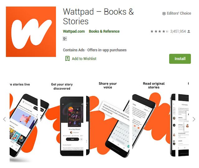 A screenshot photo of the mobile app Wattpad, one of the 50 Top Free Apps In Google Play