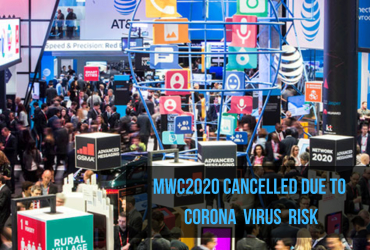 photo of the exhibit floor of the mobile world congress 2017 with lots of people and banners of companies overlay with the title MWC2020 cancelled due to corona virus risk
