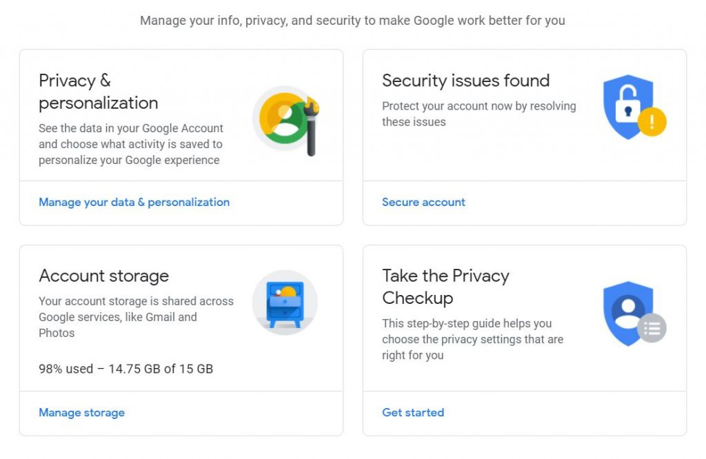 """A screenshot of one of the pages in Google Account for the """"How to Delete Google Account"""" step-by-step instruction. The photo has four different icons."""