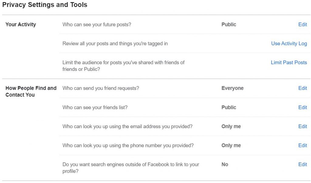 "A screenshot of ""Privacy Settings and Tools"" page from New Facebook. This photo is for the ""How to Hide Friends in Facebook"" blog in TechToGraphy."