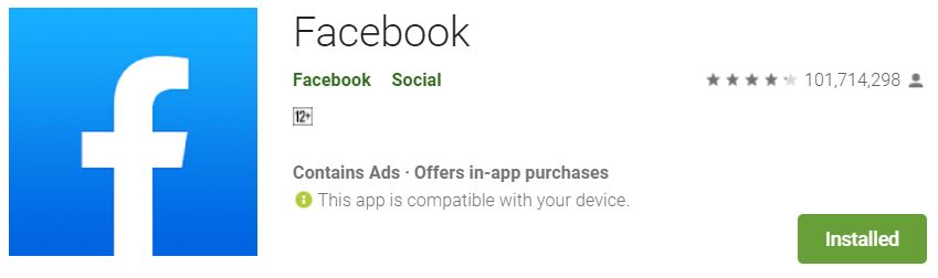 """A screenshot of the Facebook App from Google Play. It has the logo of Facebook on the left side. This photo is for the""""How to Hide Friends in Facebook"""" blog in TechToGraphy."""