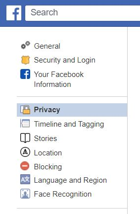 "A screenshot from Classic Facebook, highlighting ""Privacy."" This photo is for the ""How to Hide Friends in Facebook"" blog in TechToGraphy."
