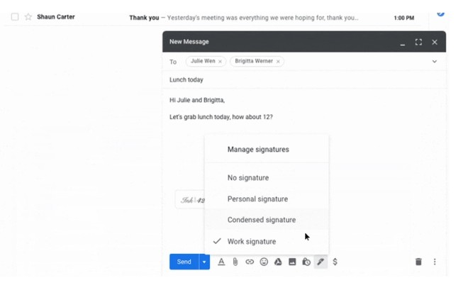 Here is how to use multiple signatures in Gmail