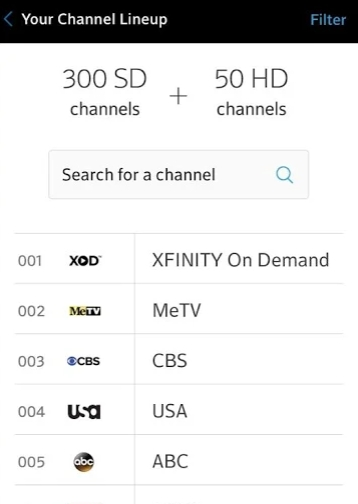 view channels Xfinity My Account for pc app
