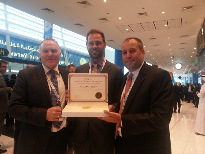 From Left to right: M-KOPA Solar Executive Chairman Nick Hughes with Jesse Moore Managing Director, and Chad Larson, Finance Director display the award certificate after winning in the SME Category of Zayed Future Energy Prize 2015. M-KOPA Solar was recognized for its 'pay-as-you-go' energy services for off grid customers that combine mobile payments with GSM sensor technology to enable the leasing of solar power systems.