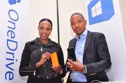 Microsoft Mobile Devices GM for East Africa Mariam Abdullahi and Product Manager King'0ri Gitahi during the launch of Lumia 540