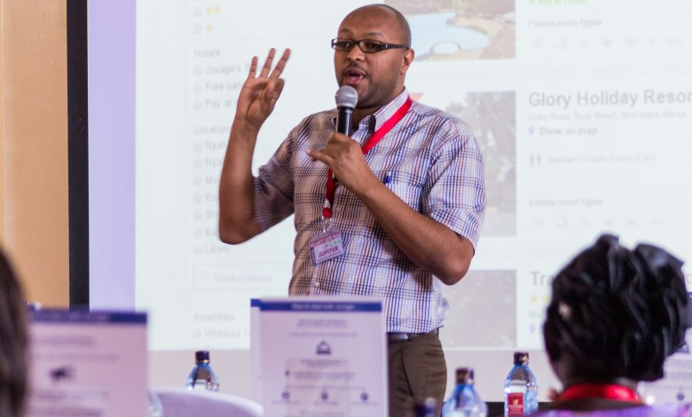 Yared Kifle - Head of Revenue Management East Africa during a training session with for hotel front desk staff