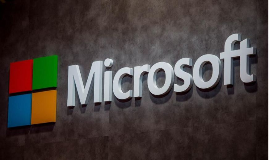 Microsoft 's logo illuminated outside in Barcelona, Spain. (Photo by David Ramos/Getty Images)