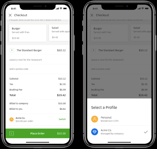 Uber Eats personal and business account