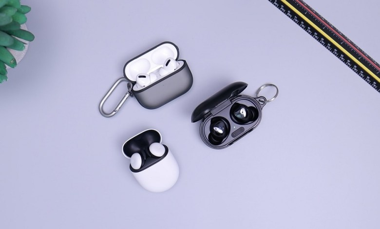 AirPods Pro, Pixel Buds, and Buds+ on Desk