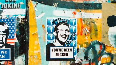 Zuckerberg art in London street