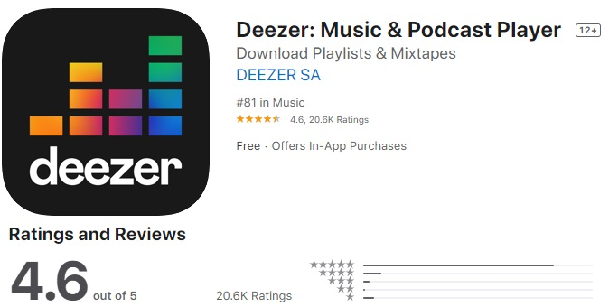 Deezer Music app for iphone