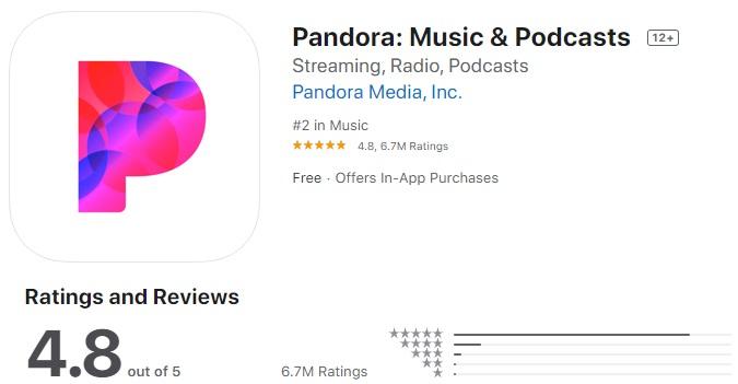 Pandora Music app for iphone