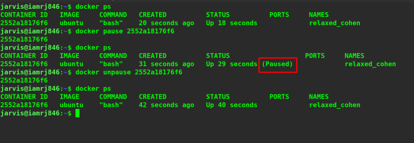 Docker Pause and Unpause Commands