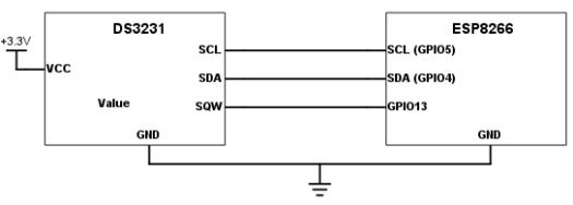 esp8266-ds3231-connection-design