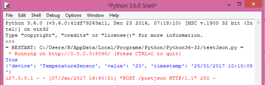 Output of the test program, in Python IDLE