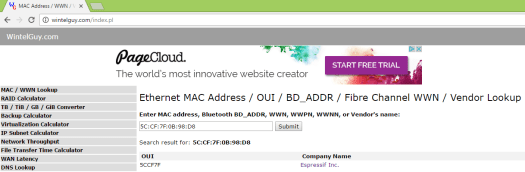ESP8266 MAC vendor lookup