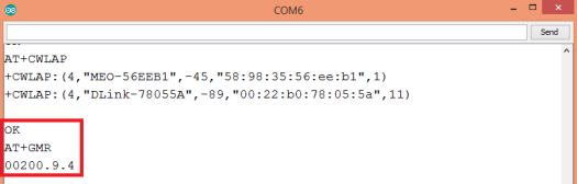 WiFi Bee AT command firmware version