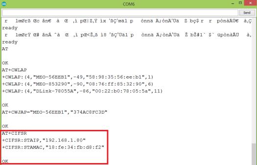 WiFi Bee AT commands get IP