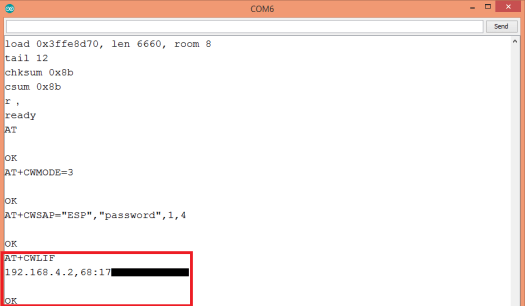 WiFi Bee showing Soft AP devices connected IPs