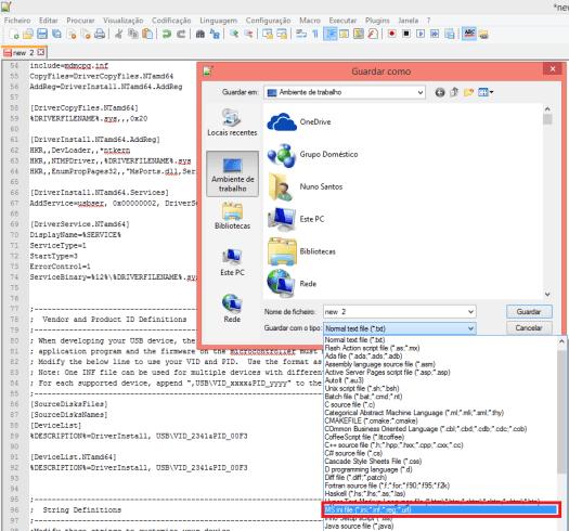 Notepad++ Saving FireBeetle ESP32 driver as inf