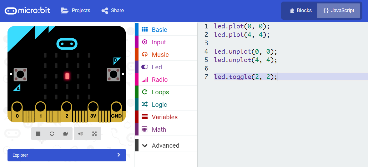 microbit board simulation toggle LED.png