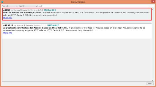 ESP32 Arduino install aREST.png