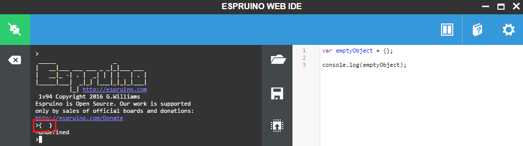Espruino ESP32 Create empty object