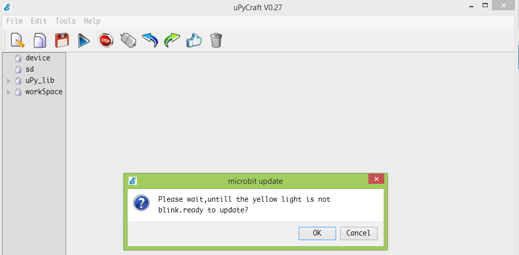 uPyCraft MicroPython microbit flash wait message.png