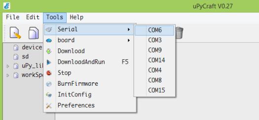 uPyCraft selecting device COM port microbit.png