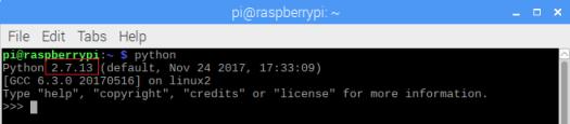 Raspberry Pi Python 2.7 interpreter
