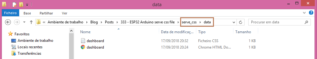 Data folder inside ESP32 Arduino sketch folder with HTML and CSS files