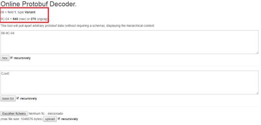 Deconding protobuf message in online tool