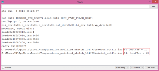 Output of the program that traces a variable using the ArduinoTrace library DUMP macro