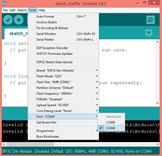 Choosing the serial port in the Arduino IDE