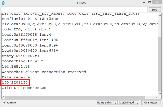 Printing to the Arduino IDE serial monitor the binary content send to the ESP32 via websocket, from a Python client