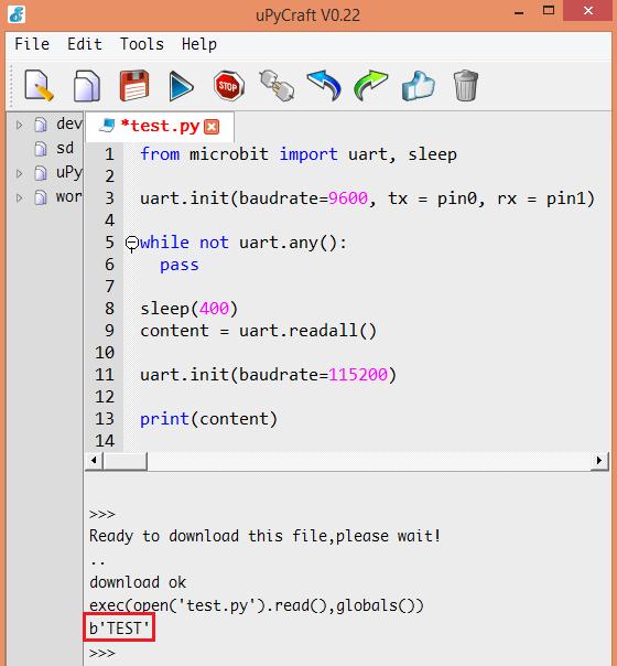 Micro:bit uPython: Receiving data from serial port – techtutorialsx