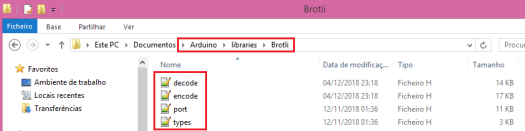 Adding header files to brotli Arduino library