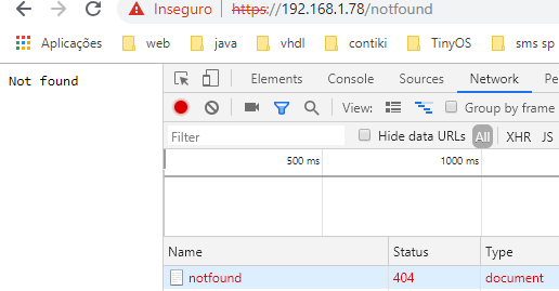 Sending a HTTPS request to a ESP32 route which is returning a 404 code.