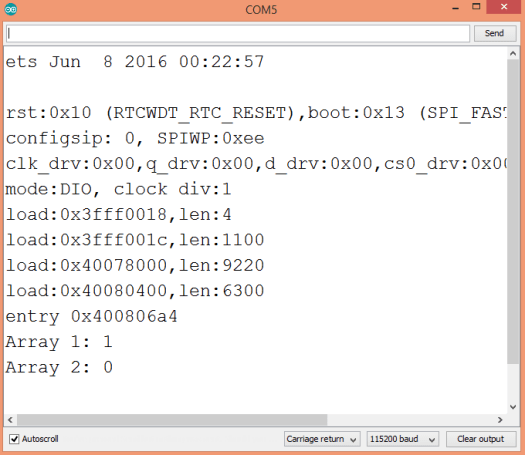Output of the program, which shows the result of applying the any operator to two arrays.