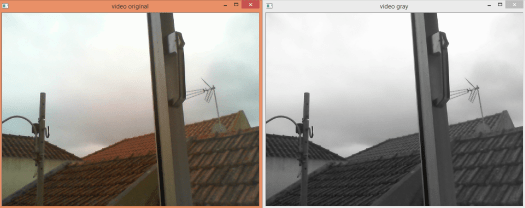 Displaying video capture and grey scale version, obtained from webcap with OpenCV and Python