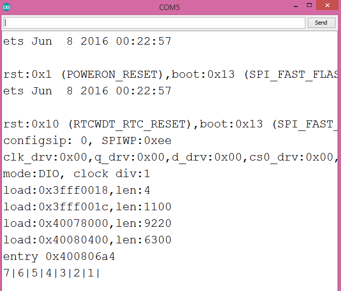 Output of reversing an array of integers with the cpplinq library, running on the ESP32.