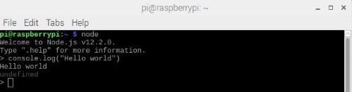 "Printing a ""Hello World"" message on the Node.js interpreter."